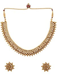 Aarvi Collections New Royal 24K Gold Plated Layering Beads Traditional Theme Necklace Set For Women/Girls.