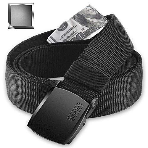 AGPTEK Cinturón de Viaje Antirrobo con Bolsillo Secreto, Hebilla de Metal y Cremallera Interior para Hombre, Negro