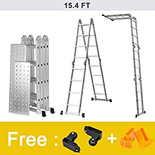 Finether 15.4 ft 4.7 m EN131 Scaffold Extendable Heavy Duty Multi-Purpose Folding Step Ladder Aluminum Folding Ladder with Safety Locking Hinges, Metal Panel, 4 Folds 16 Rungs, 330 lbs Capacity for Home Loft Office 330 lbs Capacity for Home Loft Office