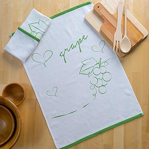 Sancarlos - Paño De Cocina Estampado Grapes Verde - 47X65 Cm - Muy Absorbente - Doble Cara Algodón+Sarga, 47X65 Cm