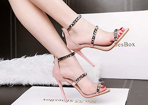NobS Femmes Justs Pieds Talons hauts Stiletto Open Toe Rivets Nightclub Sandals Work Shoes Pink