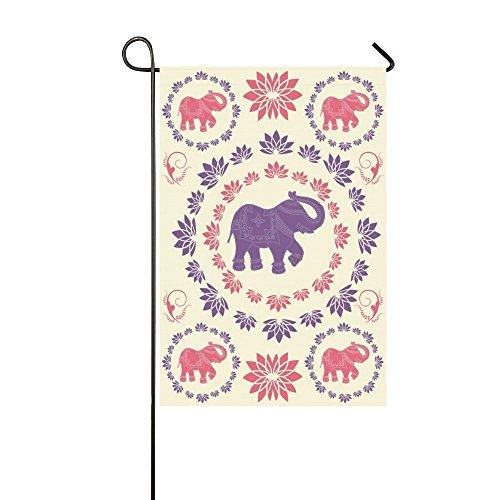 Jkimiiscute Indischer Elefant Polyester Garten Flagge Haus Banner 68,6x 94cm, Ethnic Lily Lotus Flower Fahne Deko für Hochzeit Party Yard Home Outdoor Decor