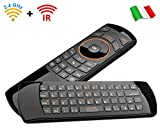 Rii Mini i25 Wireless + IR (layout ITALIANO) - Mini tastiera con Mouse giroscopico e telecomando infrarossi universale per Smart TV, Mini PC, HTPC, Console, Computer