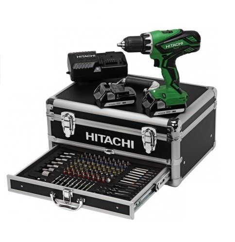 hitachi-perceuse-visseuse-percussion-hitachi-dv18djl-18v-coffret-alu-100-pices