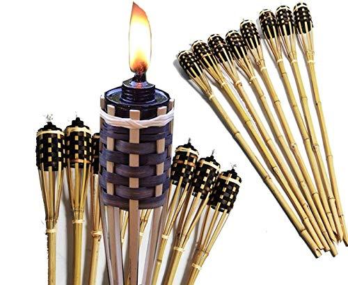 Unbekannt 8 Stück Bambusfackel Beige Gartenfackel mit 8 Stück Eingesetzter Dochte Inklusive Gratis Ersatzdochte (Bambusfackel + Ersatz Docht) (8, Beige)