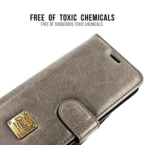 SOYN XPERIA X COMPACT Étui Portefeuille, QIOTTI Folio Wallet Case avec[ RFID Blocking Protection ] [ Fonction Présentoir ] [ 3 Card Slots ] [ Magnetic Hidden Closure ] [ Faux cuir éco de qualité supér GRIS