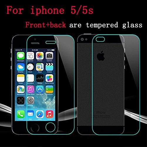 AE MOBILE ACCESSORIZE AEMA (TM) Tempered Glass Screen Scratch Protector Guard for Apple Iphone 5/5S Front and Back