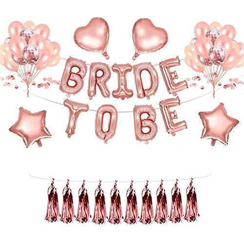 REYOK Deko Ballons Rosegold Set Helium Buchstaben Folienballons Bride to BE, Bachelorette Team Braut Partei Liefert mit Braut Folienballons Tassel Garland für Tochter Mädchen Abschied Verlobung Party -