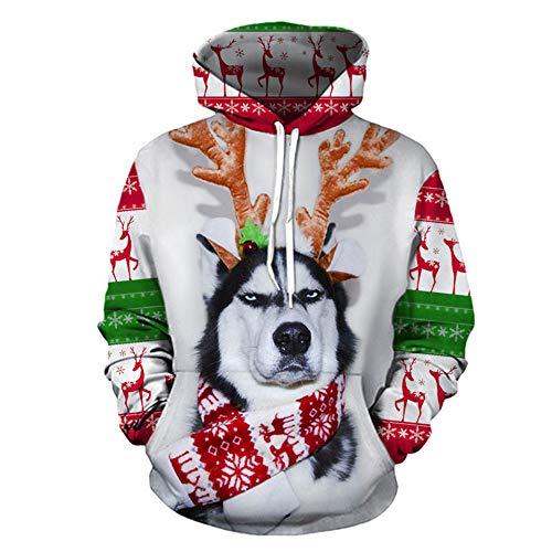 MIRRAY Herren Weihnachten Pullover 3D Mode Lustig Gedruckt Langarm Kapuzenpulli Tops Bluse S/M/L/XL/XXL/XXXL