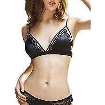 Awake Lingerie Conjunto de Lencería para Mujer, Sexy Bralette de Encaje y Bragas Transparente,