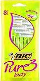 BiC Pure 3 - Rasoio usa e getta da donna, a 3 lame con Aloe Vera, confezione da 8