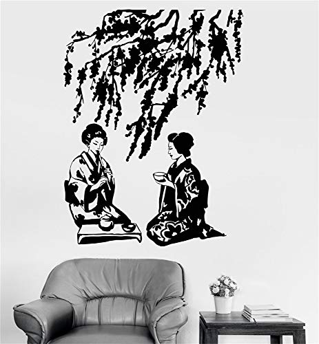 Calcomanías pegatinas de pared Refranes Sala de letras Casa Decoración de pared Arte mural Oriental Geisha sexy Ceremonia del té Tradición japonesa Árbol de Sakura Naturaleza