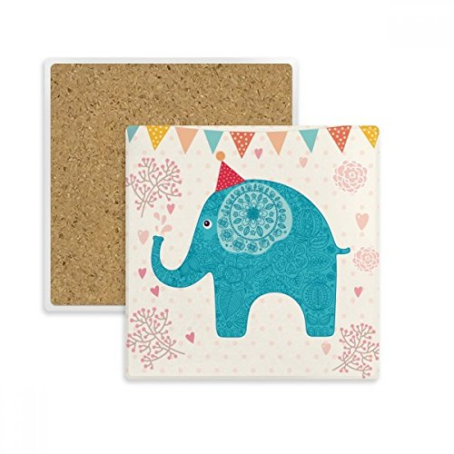 Taza de bandera de rojo gorro de elefante azul colorido cuadrado posavasos...