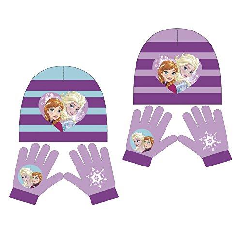Kostüm Olaf Mütze - Disney Frozen 2tlg. Winterset AUSWAHL Kindermütze Kinderhandschuhe Die Eiskönigin Anna Elsa Olaf Sven (lila)