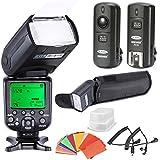 Neewer® Kit de Flash Synchro Haute Vitesse I-TLL Flash Maître/Esclave pour Nikon Reflex Numérique, tel que Nikon D4S D4 D3S D800 D700 D80 D90 D7000 D7100 D50 D40X D60 D5000 D5100 D5200 D5300 D40 D3000 D3100 D3200 D3300et Les Autres Nikon Reflexs Numériques, comprend: (1)NW982N-II Flash, (1)Diffuseur,(1)3-en-1 2.4Ghz déclencheur flash sans fil, (1)35-couleur kit de Filter Gel, (1) Flash Etui de Luxe, (2) Câbles(N1-Cordon + N3-Cordon)
