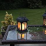 Solar-Laterne und Kerze, LED, Flackereffekt, 15cm (inkl. wiederaufladbarer Batterie) - 4