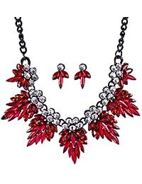 b912d8895754 nuobaby Collar Creativo de Gama Alta de Cristal Deja Corto Cadena de  clavícula Pendientes Moda Personalidad