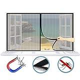 WISKEO Fenster Fliegengitter Magnet Verschiedene Größen Moskitonetz Gross Anti-Moskito Insektenschutzgitter Rolle Entfernbar Schiebe Dach Tür - Schwarz 180x110CM(WxH)