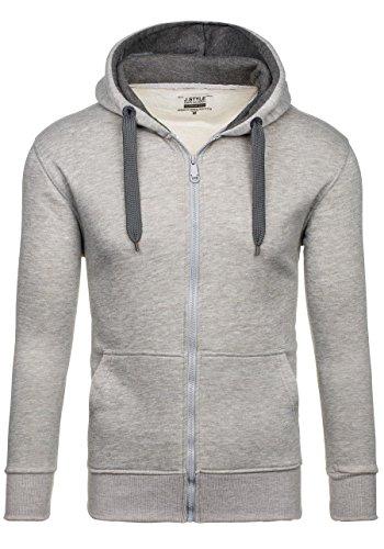 BOLF Herren Kapuzenpullover Sweatjacke Sweatshirt Hoodie Pullover Mix 1A1 Pulli Grau-Dunkelgrau_2074-3