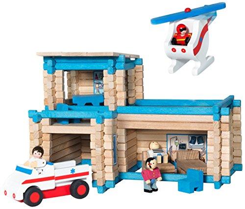 Costruzione in legno Rescue Service con un elicottero e un' ambulanza. Ideale per sviluppare le abilità e la fantasia. Contiene 155pezzi. viene fornito in una valigia di cartone (39x 32x 11cm). A partire da 5anni. Fabbricato in Francia.