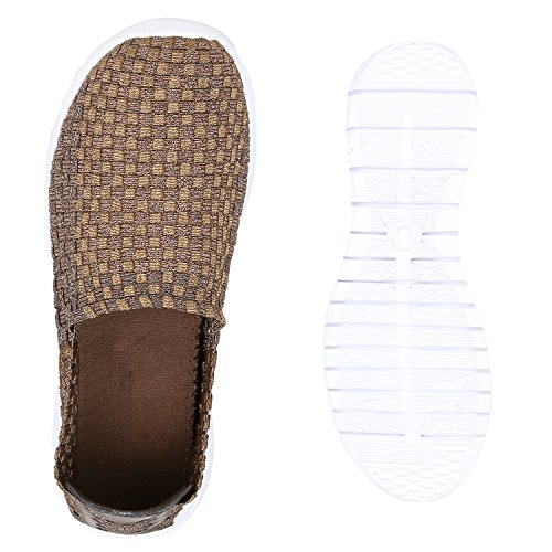 Damen Slip-ons Glitzer Sneakers Helle Sohle Slipper Metallic Bronze Weiss
