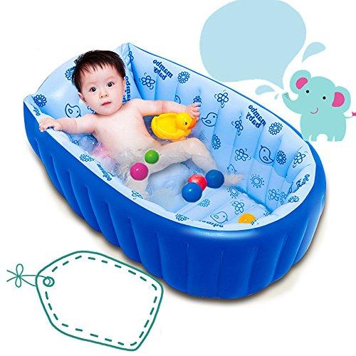 MERRYHOME Baby Soft Badewanne Kinder aufblasbar Anti-Rutsch Schwimmbad Faltbar Travel Air Shower Basin Sitzbecken Big Size(For 0-3 Years) + Luftpumpe