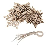 10pcs Wooden Embellishments with String Christmas Decoration Snowflake Pattern 01