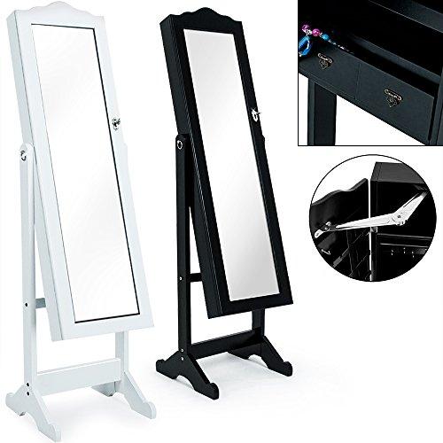 Deuba® XL Schmuckschrank ✓großer Außenspiegel ✓viel Stauraum ✓schwenkbar ✓abschließbar ✓HxBxT 145x41x39 cm ✓Farbe Weiß - Modell geschwungen - Spiegelschrank Schmuck Schrank Spiegel Holz