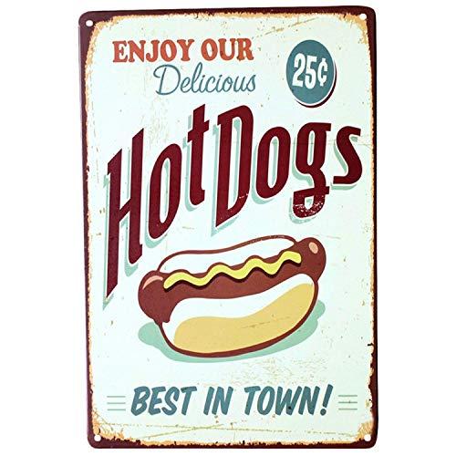 Forry Hot Dogs Metall Poster Retro Blechschilder Vintage Schild Zum Cafe Bar Garage Wohnzimmer Schlafzimmer (Hot-dog-malerei)
