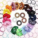 DazSpirit 20Pcs Hair Scrunchies Velos de pelo elásticas de terciopelo + 30Pcs Color Bandas de cabello de goma elástica + 5Pcs Bobinas de pelo de cable de teléfono para mujeres o niñas