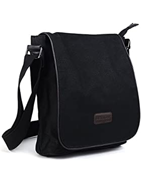 Eshow Herren Canvas Freizeit Retro Umhängetasche Schultertasche Handtasche Tasche Schultasche Messenger Bag