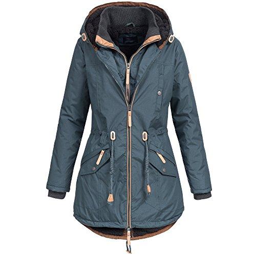 Brave Soul Damen Mantel Winterjacke Parka Jacke warm Wintermantel Doublezipper gefüttert XS-XXL AZ34, Farbe:Petrol, Größe:L / 40