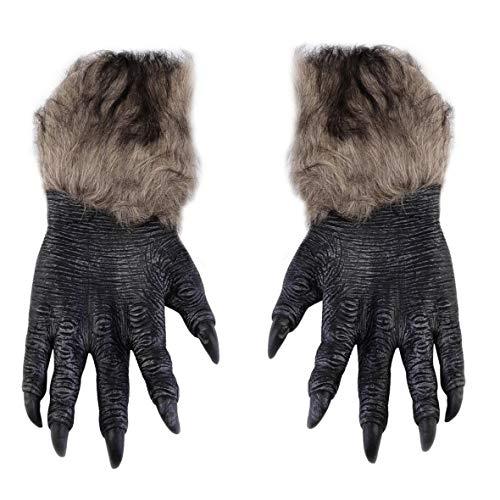 Heaviesk Wolf Paws Handschuhe Halloween Werwolf Handschuhe Latex pelzigen Tierhandschuhe Wolf Klauen Halloween Prop Horror Devil Party Club
