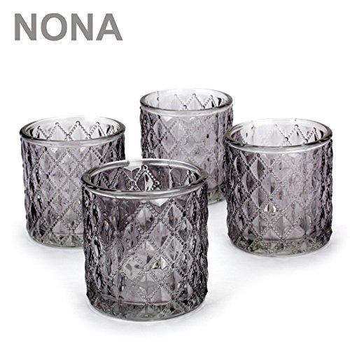 NoNa ORIS anthrazit grau - 4er Set Teelichtglas - Teelichtgläser Kerzenglas Kerzengläser Kerzenhalter