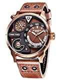 Alienwork Herren-Armbanduhr Quarz Bronze mit Lederarmband braun Kalender Datum Multi Zeitzonen