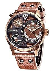 Alienwork Herren-Armbanduhr Quarz Bronze mit Lederarmband braun Kalender Datum Multi Zeitzonen XL Über-große