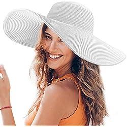 Dafunna Sombrero de Paja para Mujer de ala Ancha UPF 50+ Plegable Sombrero de Sol Color Sólido Playa Vacaciones (Blanco)