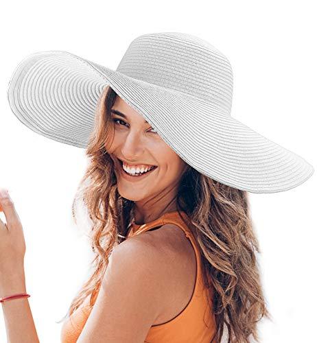 Dafunna Donne Cappello Tesa Larga Elegante Cappello Protezione UV Paglia da Cappello della Spiaggia Pieghevole Floscio Protezione Solare Cappello da Sole Estate (Bianco)