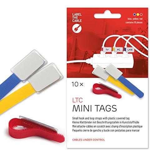 Label-the-cable Kabelbeschriftung mit Klettband, Klettbinder (Klettverschluss) mit Beschriftungsfeld, Kabelkennzeichnung, Kabelmarkierer, Kabeletikette/ LTC MINI TAGS, 10 Stück, Bunt, LTC 2530