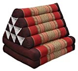 Cuscino triangolo Thai con piccolo materasso 2 pieghe, fabbricato in Thailandia, marrone/rosso (82302)