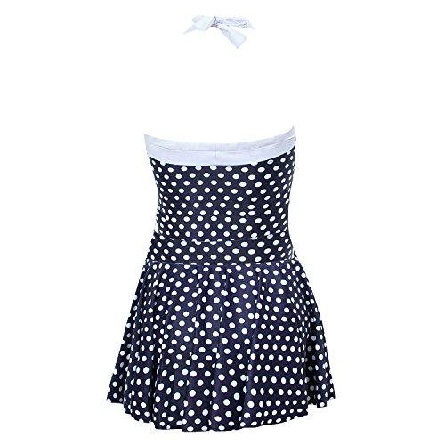 Lydreewam Damen Elegant Halter Design Riemchen einteilige Plus Size Badebekleidung Bikini V-Ausschnitt Badeanzug Schwimmanzug Einteiliges Rückenfreies Badekleid Blau & Weiß