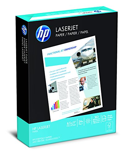 "LaserJet Paper,24 lb.,8-1/2""x11"",98 GE/112 ISO,500/RM,WE, Sold as 1 Ream"