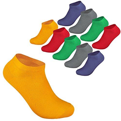 10 Paar Sneaker Socken Damen und Herren Kurzsocken Füßlinge Strümpfe Baumwolle Größe 35-38 in Trendigen Farben OEKO TEX STANDARD