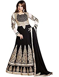 Shoppingover Women's Georgette Dress Material (5503AM_Free Size_Black)