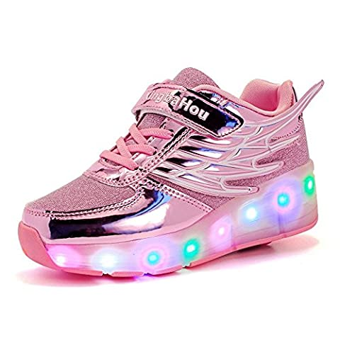 SHELAIDON Single Wheel Boys Kids LED Light Wing Roller Shoes Girls Adults Sneakers (EUR28,pink)