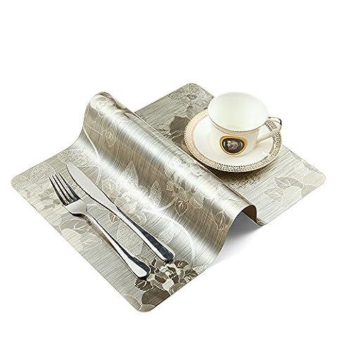 Onesky-uk Sets de table (lot de 4), antidérapant, imperméable, facile à nettoyer, isolation thermique, plastique Table Sets de doré clair