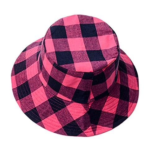 LUYION Eimer-Sonnenhut Karierter Hut Bucket Hat Retro gedrucktes Muster Strandmütze Hip-Hop-Hut Fischerhut Großartig für alle Outdoor-Aktivitäten Unisex,Pink