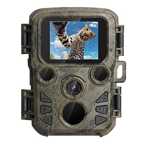 """YTAT IED Mini Wildkamera Fotofalle 1080P Full HD 12MP Jagdkamera Weitwinkel Vision Infrarote 20m Nachtsicht Wasserdichte IP56 Überwachungskamera mit 1.9"""" TFT Display"""
