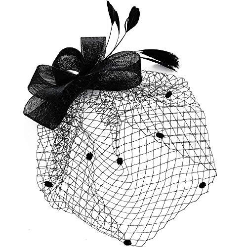 Damen Elegante Fascinator Schwarz Feder Netz Hut mit Schleier Hair Clip Hochzeit Cocktail Haarklammer Hüte für JGA Tea Party Kirche Jockey Club Headwear für Mädchen - Jockey Kostüm Kind
