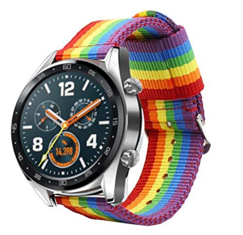 Estuyoya - Bracciale in Nylon Compatibile con Huawei Watch GT Sport/GT Classic/Fashion/GT Active Colori di Orgoglio Gay LGBT,...